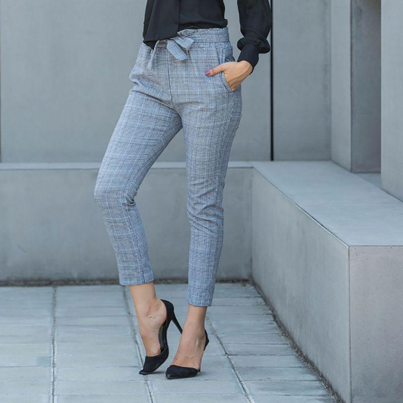 EFINNY New Fashion Spring Vintage Gray Grid Casual   Pants   Women Trousers Female Streetwear   Capris   Summer   Pants