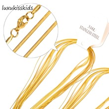 LUXUKISSKIDS 2mm Factory Price Gold/Steel 316L Snake Necklace Chain Fashion Stainless Steel Jewelry Chains