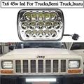 1 par 12 v 24 v Hi/low haz 5x7 led proyector del faro 7x6 55 w para YJ Wrangler Cherokee XJ Camiones 4X4 Offroad