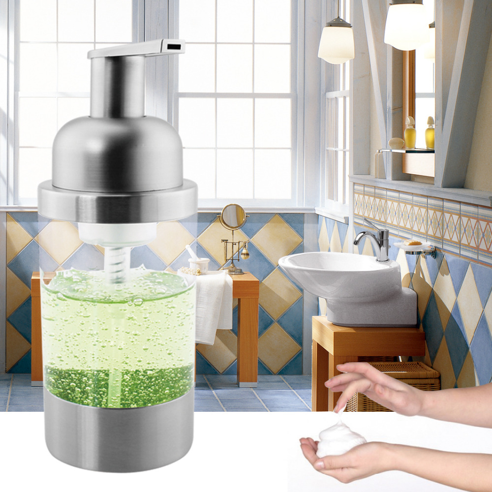 304 Stainless Steel Countertop Foaming Soap Dispenser Bottle(Satin Finish) Plastic Pump Head 250ML