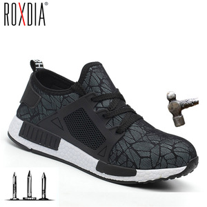 ROXDIA العلامة التجارية زائد حجم 35-46 مقدم الحذاء الصلب الرجال النساء العمل والسلامة الأحذية الصيف خفيفة الوزن تأثير مقاومة الذكور أحذية RXM113