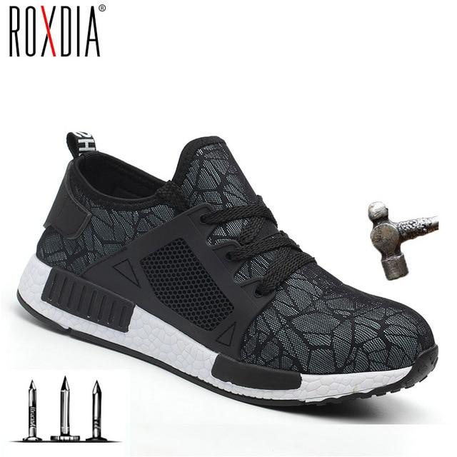 ROXDIA marka artı boyutu 35-48 çelik burun koruyucu erkek kadın İş ve güvenlik botları yaz hafif darbe dayanıklı erkek ayakkabı RXM113