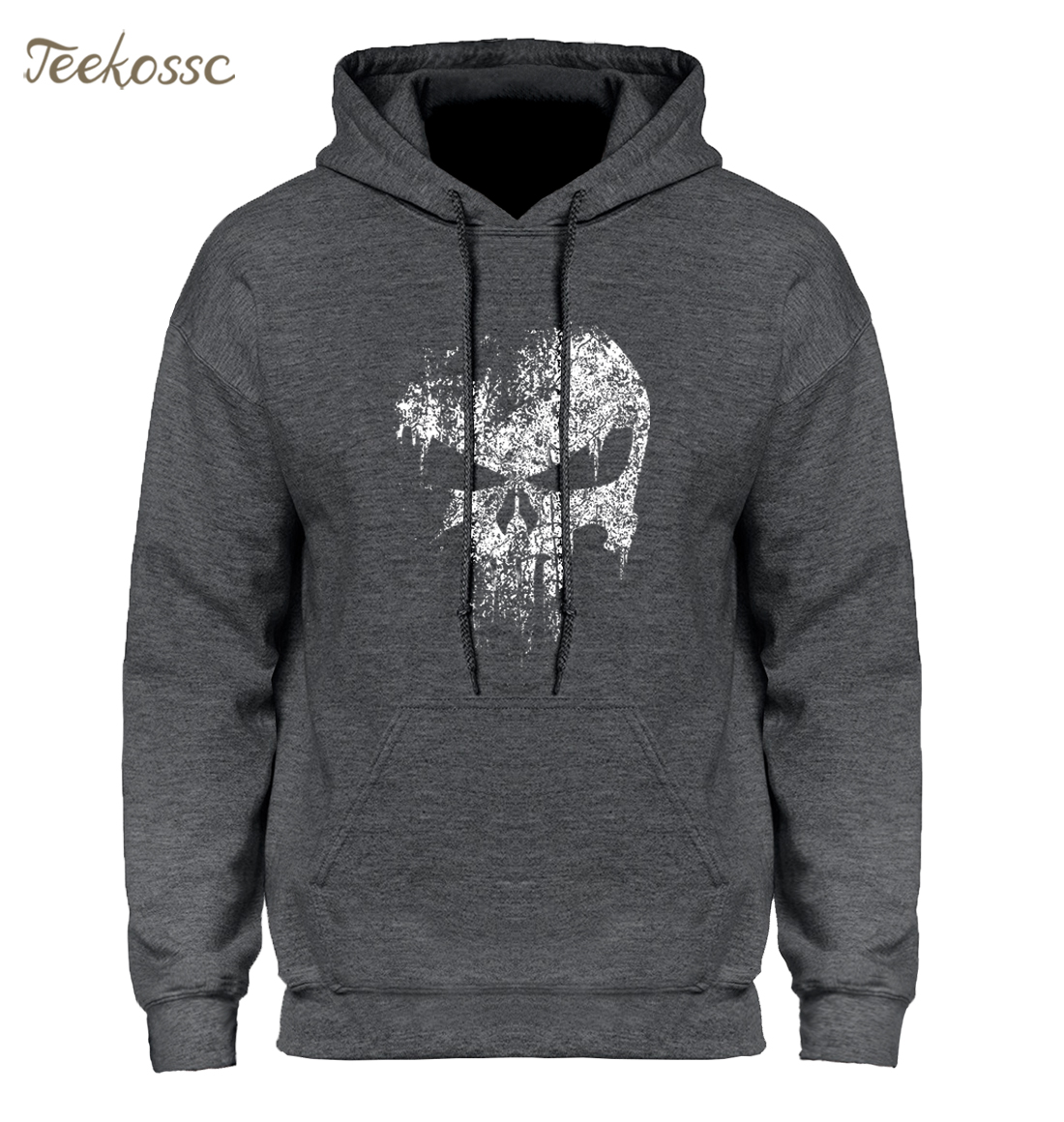 Skull Print Super Hero Hoodie Hoodies Sweatshirt Men 2018 New Brand Winter Autumn Hooded Hoody Hip Hop Streetwear