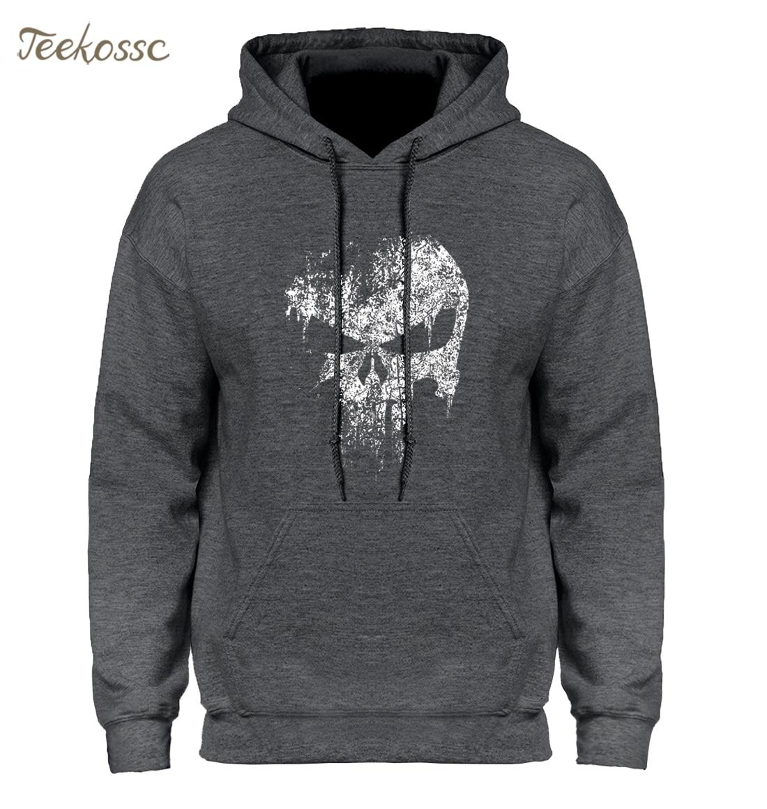 Skull Print Super Hero Hoodie Hoodies Sweatshirt Men 2018 New Brand Winter Autumn Hooded Hoody Hip Hop Streetwear