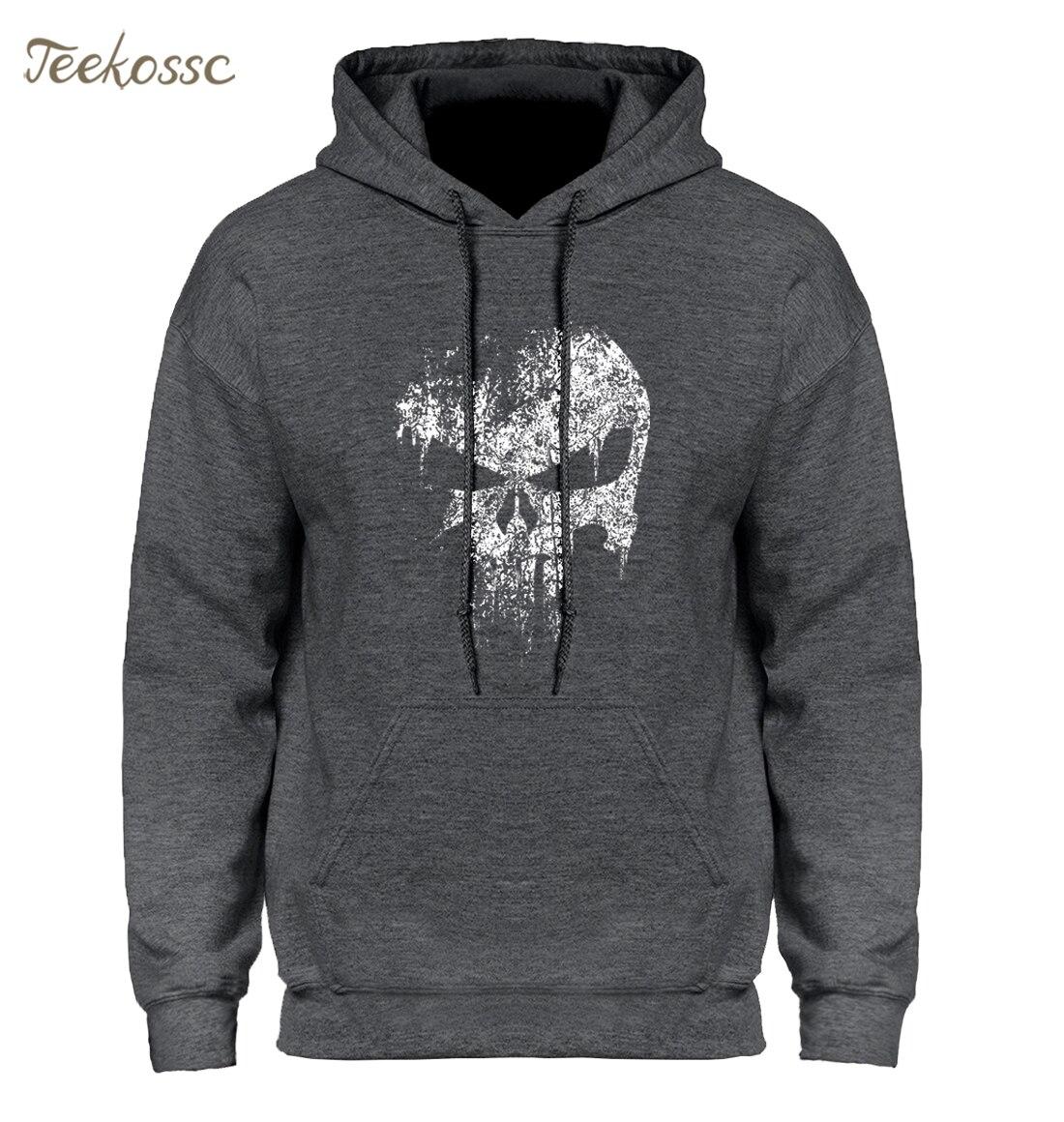 Skull Print Super Hero Hoodie Hoodies Sweatshirt Men 2020 New Brand Winter Autumn Hooded Hoody Hip Hop Streetwear
