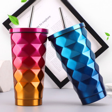Vacuum Flasks 600ML Thermos Funny Gradient Color Insulated Car Coffee Mug Travel Drink Bottle For with Straw