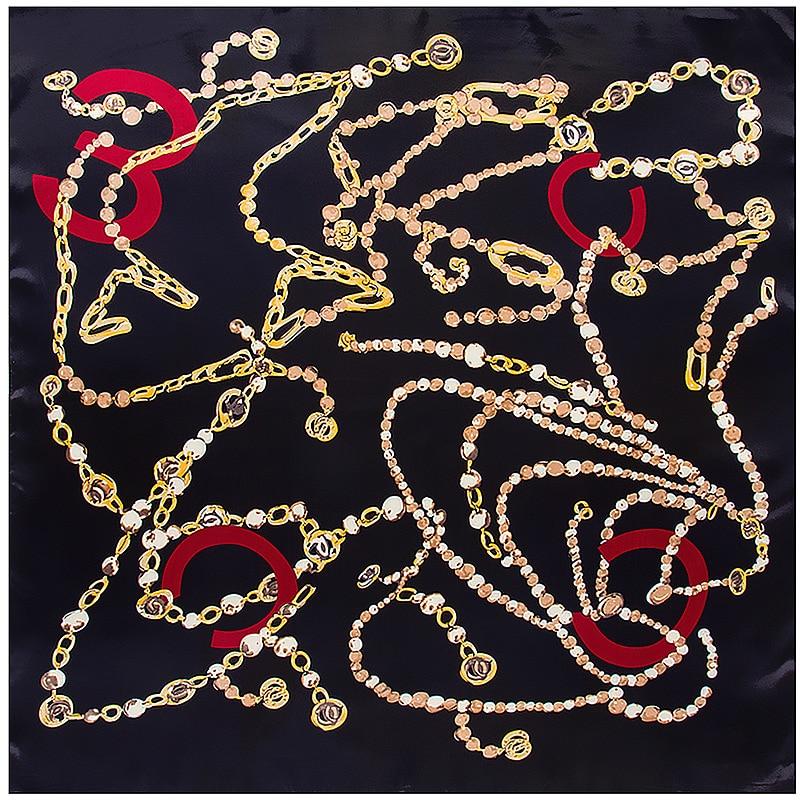 Fashion Silk Satin Scarf Women Beach Pareo Hijab Summer Chain Silk Square Head Scarves Luxury Shawls And Wraps Wholesale Foulard