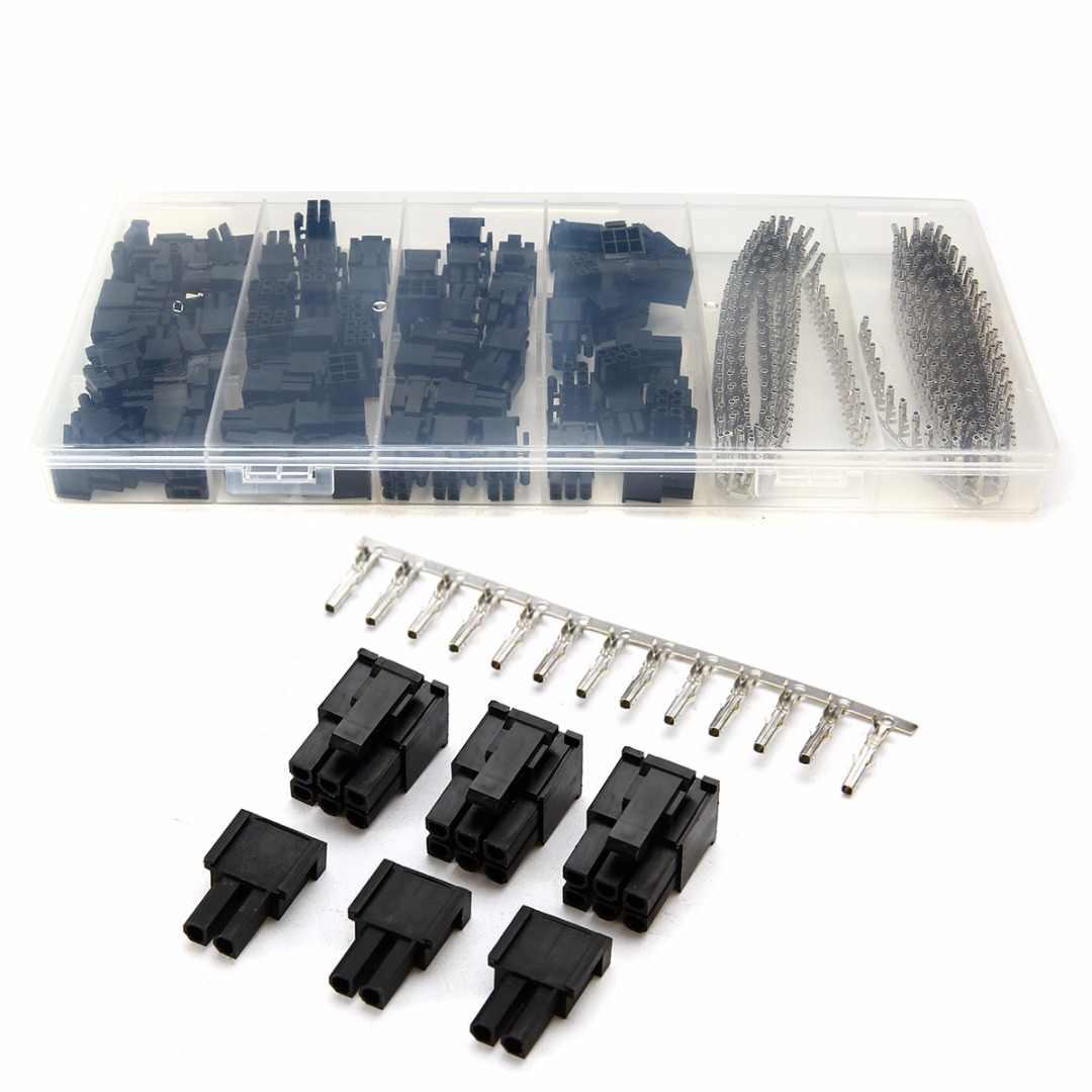 50pcs 5557 8 (6 + 2) P ATX EPS PCI-E Connettori + 400pcs Terminale Femmina Crimp Spille Spina + Scatola di Plastica
