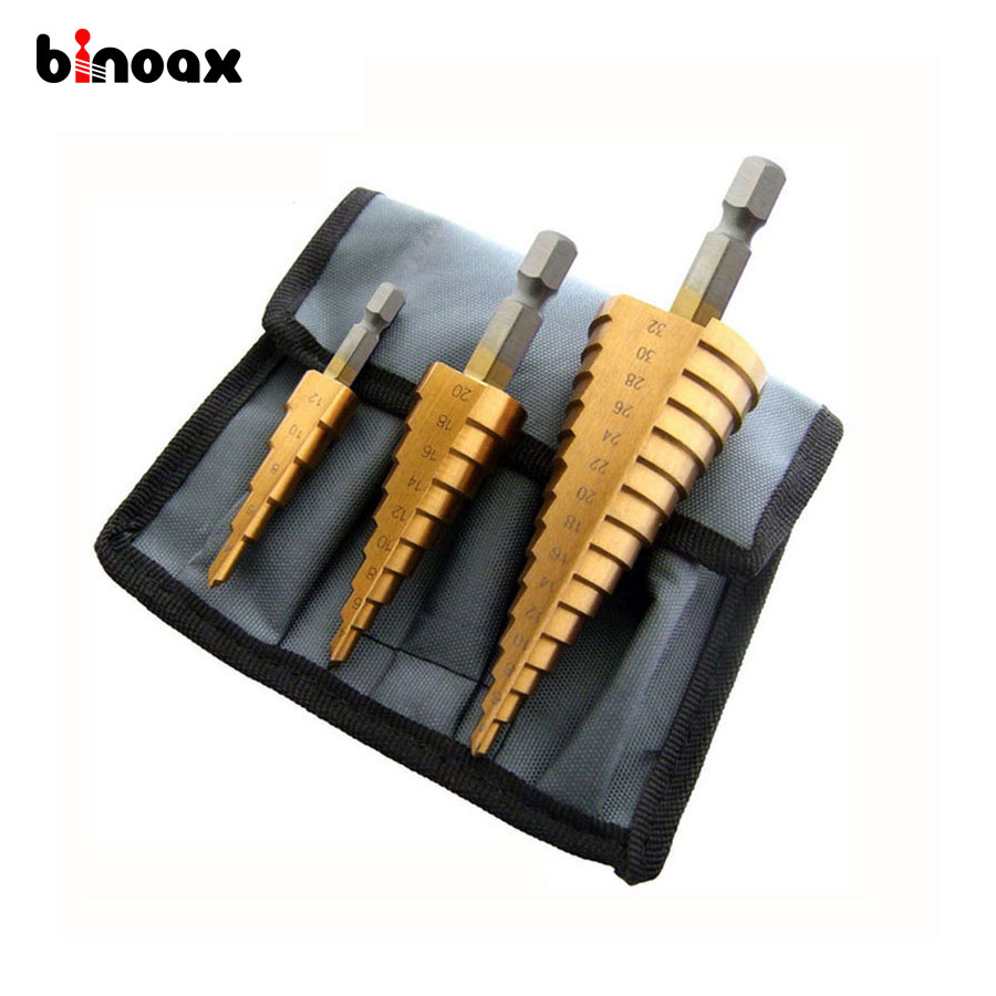 Binoax 3 Pz Metric Spirale Flauto Step HSS Acciaio 4241 Cone Titanium Coated Drill Bit Tool Set Hole Cutter 4-12/20/32mm + Pouch