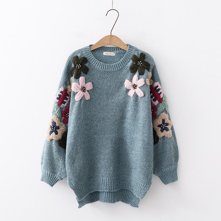 Autumn And Winter New Sen Department Fresh Flower Beaded Pullover Sweater Wild Women's Sweater