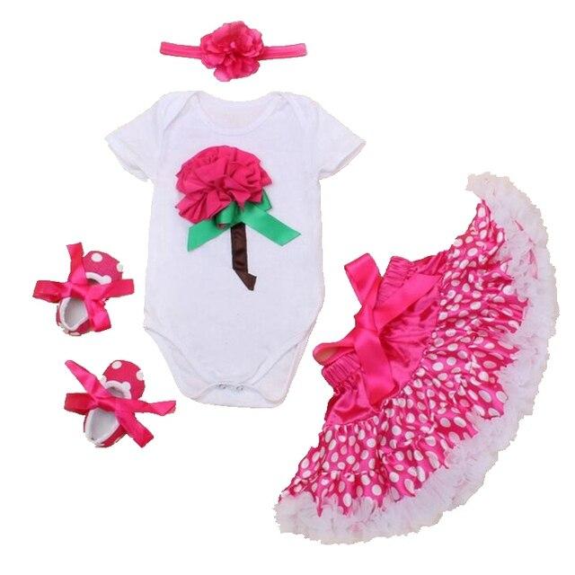 Ярко-Розовый 3D Flower Девушки День Рождения Наряды Боди Юбки Девочка Набор Детской Одежды детская Одежда Roupas Infantis Menina