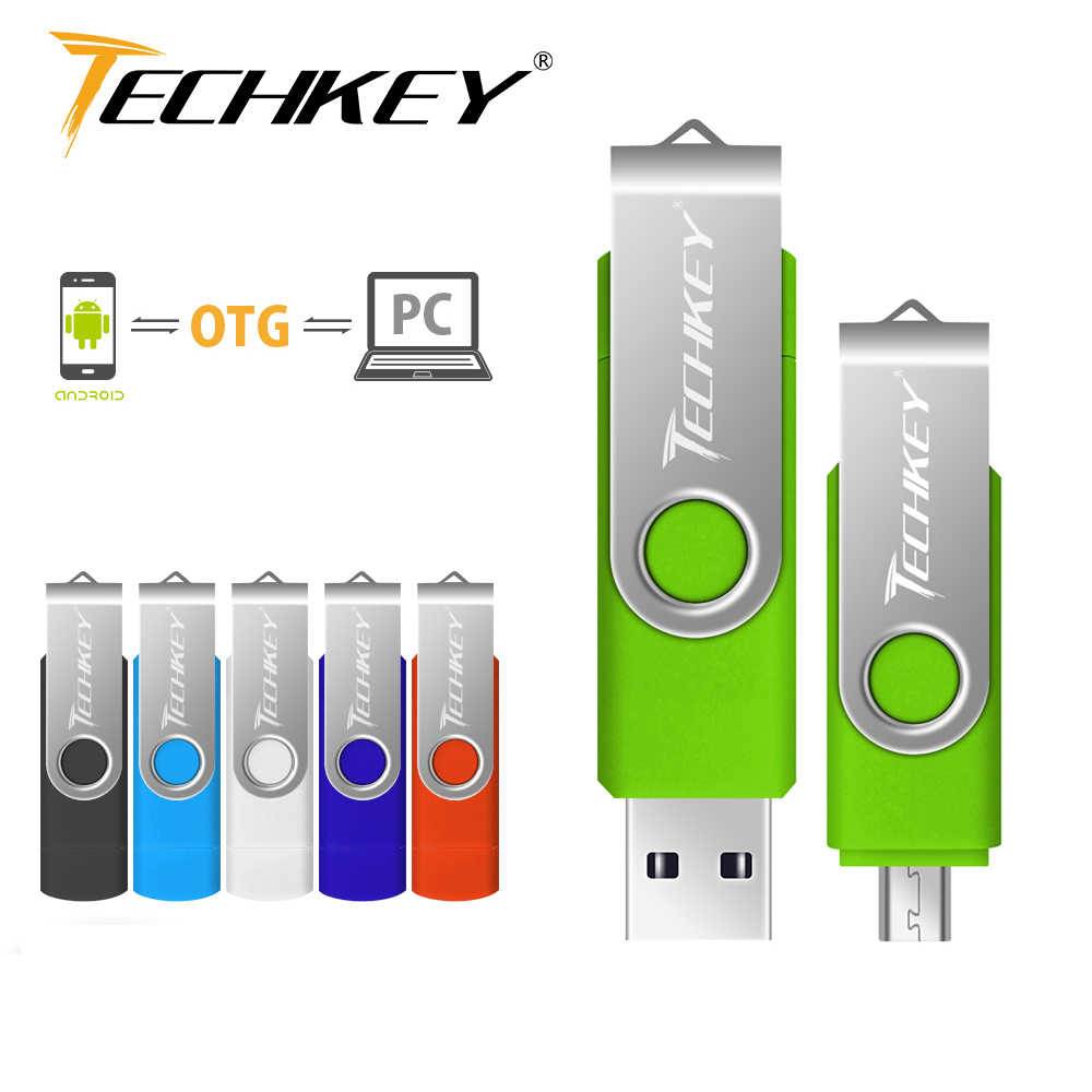 Pen drive otg usb flash drive techkey 1 gb 2gb 4gb 8gb 16gb 32gb 64gb móvil android memoria flash de teléfono pendrive mini usb 2,0
