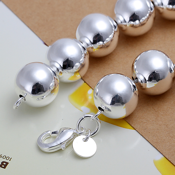 Hot Sales 925 Sterling Silver Round 14MM Plant Ball Bead Chain Bracelets  Fashion Costume Women Men Bracelets Jewelry H080-in Chain   Link Bracelets  from ... 52a2a918b612