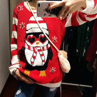 Light Up Ugly Christmas Penguin Jumpers For Women Knitted Xmas Party Pullover Sweaters Plus Size