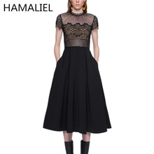 Self-Portrait New Fashion 2017 Summer Runway Designer Lace Dress Women's Short Sleeve Patchowrk Lace Sexy Dress Slim Party Dress
