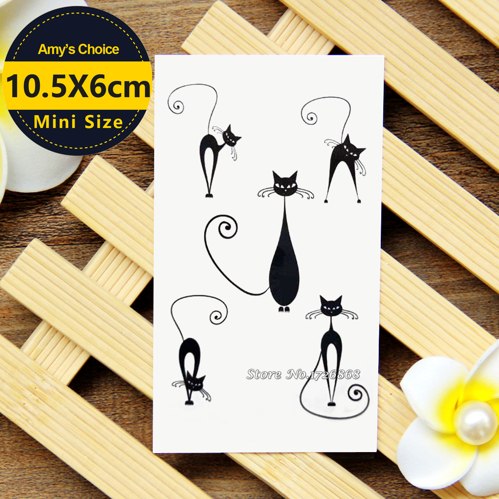 2017 Body Art Removable Waterproof Gold Tattoo Temporary Tattoo Cat Stickers #031