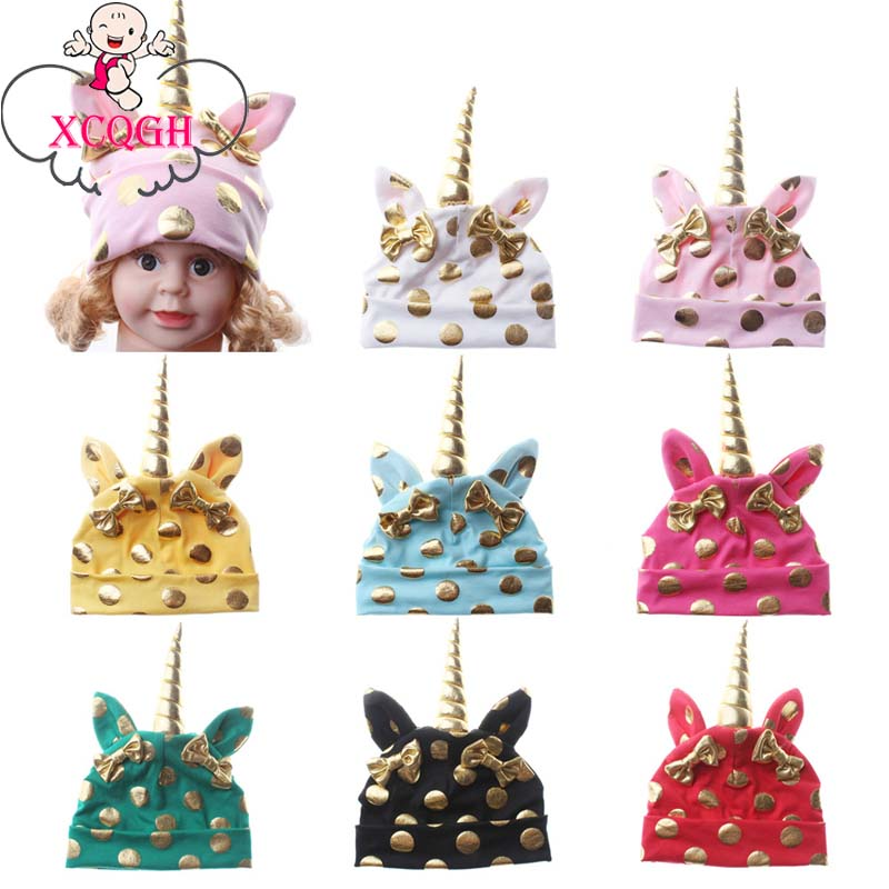 XCQGH Fashion Baby Beanie Hat Cotton Unicorn Style Cap With Ear Gold Stamping Bow Spring Autumn Hat Kid Child Boy Beanies Cap