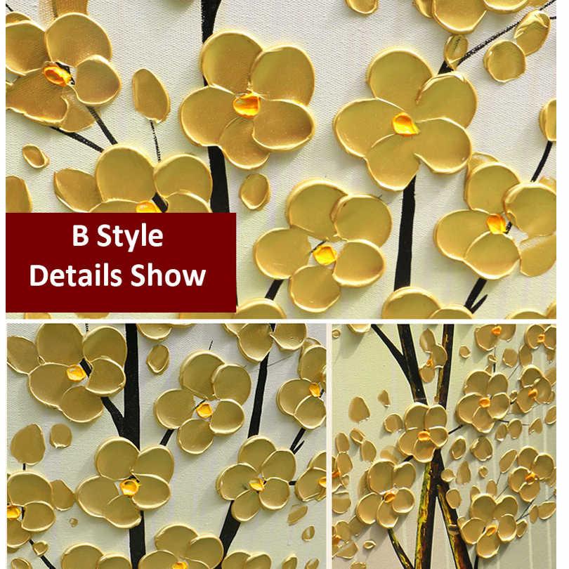 Декоративная картина маслом денежное дерево искусство канва для ручной работы на палитре нож дерево 3D цветы картины дома гостиная 20180113