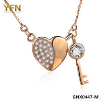 GNX0447 M 100 Genuine 925 Sterling Silver Jewelry Charms Necklace Fashion Rose Gold Plated Collares Necklace