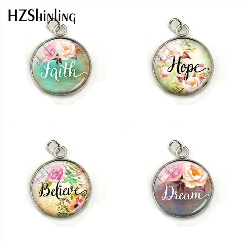 2019 Vintage Bible Verse Charms Faith,Dream,Love,Hope,Believe,Art Glass Dome Charms Pendants Quote Jewelry Christian Gifts