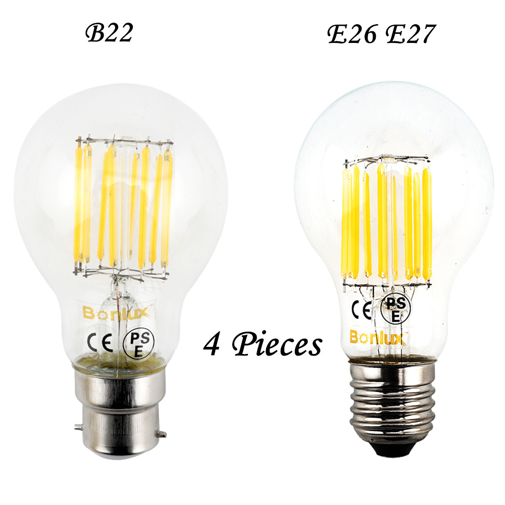 10W LED A60 E27 B22 Light Bulb 110V 220V LED Filament Bulb Lamp E26 Glass Retro Edison Ball Bulb for Crystal Chandelier Lighting