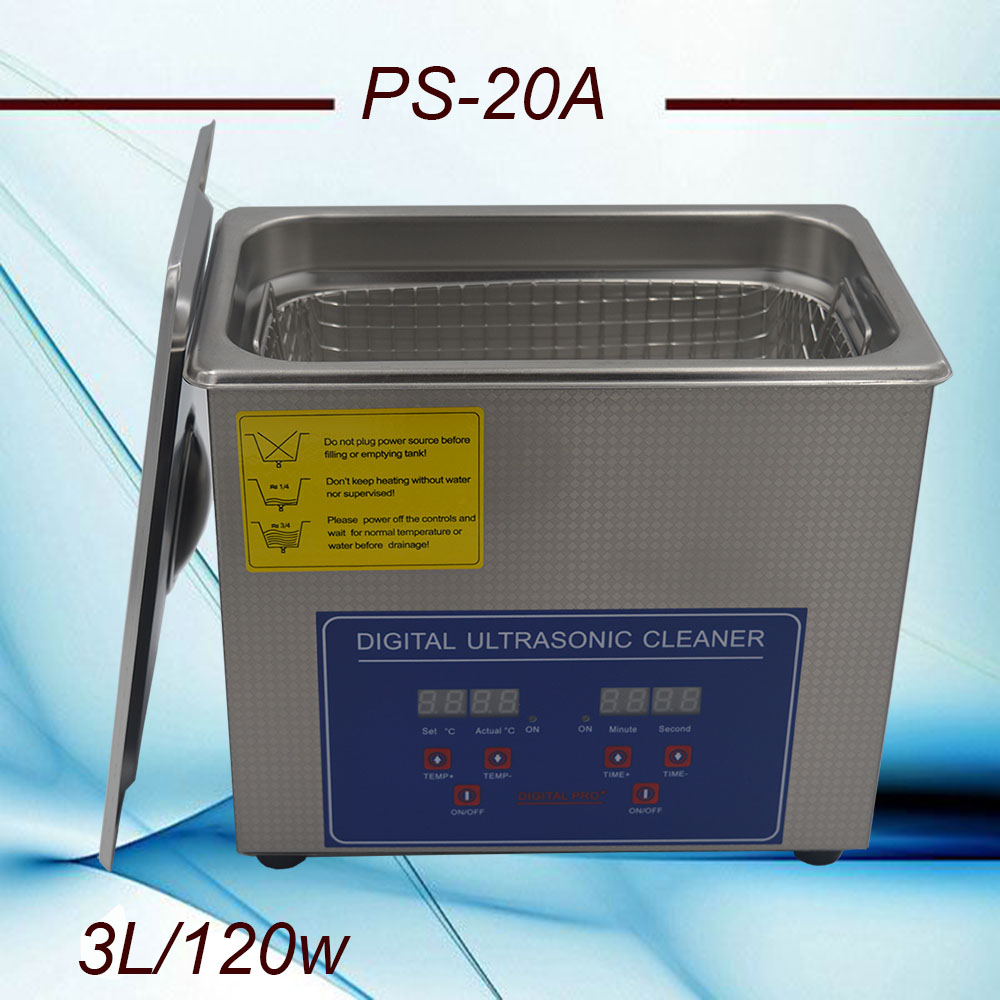 free shippiing AC110V 220V optional digital timer heated ultrasonic cleaner 3L 40KHz with free basket for