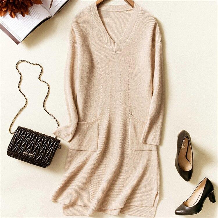 cashmere wool blend knit women fashion Vneck irregular hem pullover sweater dress beige 4color S 2XL retail wholesale - 4