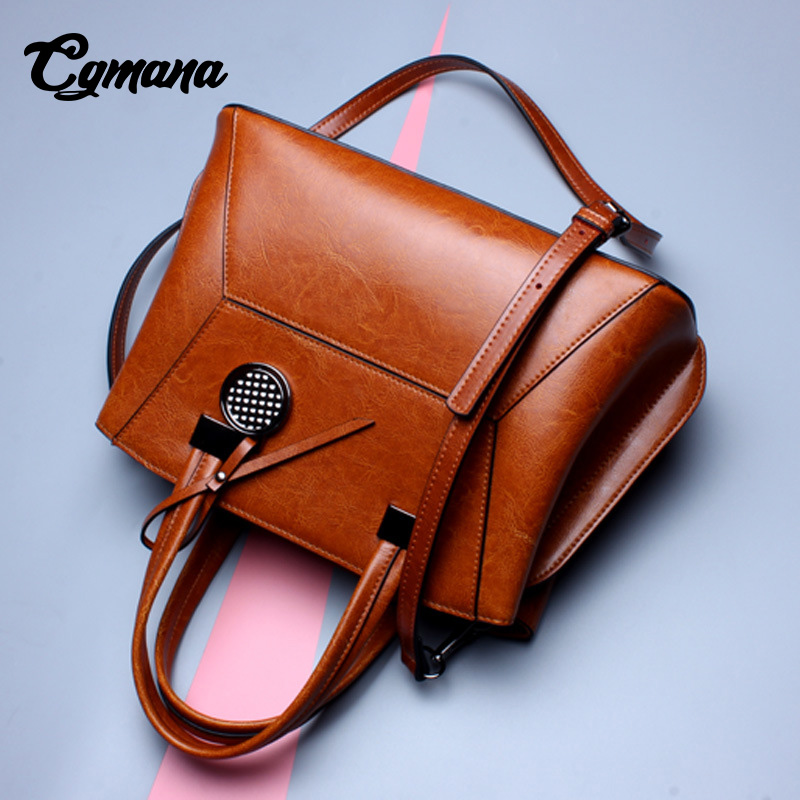 Ladies' Genuine Leather Handbag 2018 High Quality Genuine leather Oil Wax Bag Shoulder Bags Luxury Handbags Women Bags Designer ladies genuine leather handbag 2018 luxury handbags women bags designer new leather handbags smile bag shoulder bag
