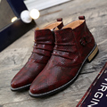 Осень Зима 2016 Мужчин Сапоги Черный Белый Коричневый Красный Pointy мужчины Лодыжки Сапоги Мода Британский Стиль Мужской Сапоги Змея Картина обувь