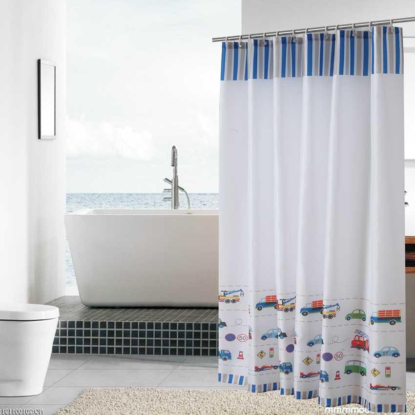 Modern Shower Curtains Geometric Flowers Cartoon Bath Curtain Cortina Waterproof Polyester For Bathroom with 12pcs Plastic