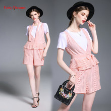 Fairy Dreams 3 Piece Set Women White T Shirt Pink Lace Vest Crop Tops And Shorts Pants Suits 2017 Summer Style Fashion Clothing