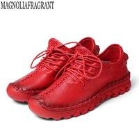 2019 Новая мужская обувь ручной работы из натуральной кожаная женская обувь кроссовки повседневная обувь для Для женщин на плоской подошве; ж...
