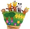 Зоопарк Животных и Счастливая Семья Членов Рассказом Пальцем Кукольный Рук Перчатки