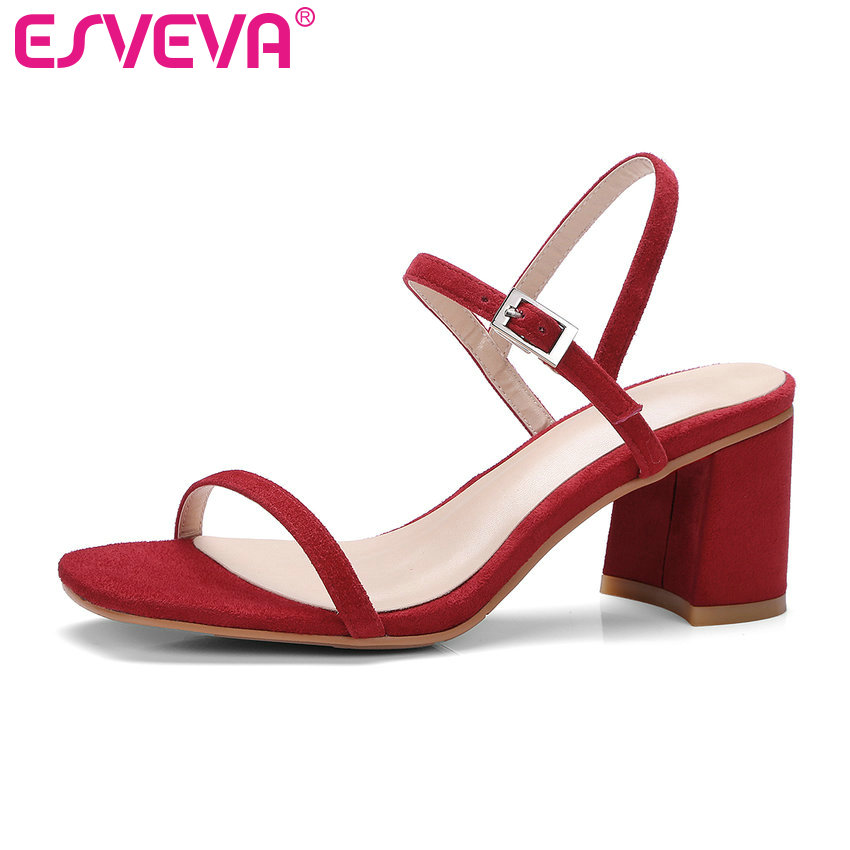 ESVEVA 2018 black Orange Summer Party Sandals Square High Heel Sandals Genuine Leather Shoes Woman Wedding Shoes Size 34-39 sandals genuine leather new woman s shoes high heel 10cm platform 1cm female summer small yards small yards eur size 34 39 page 5