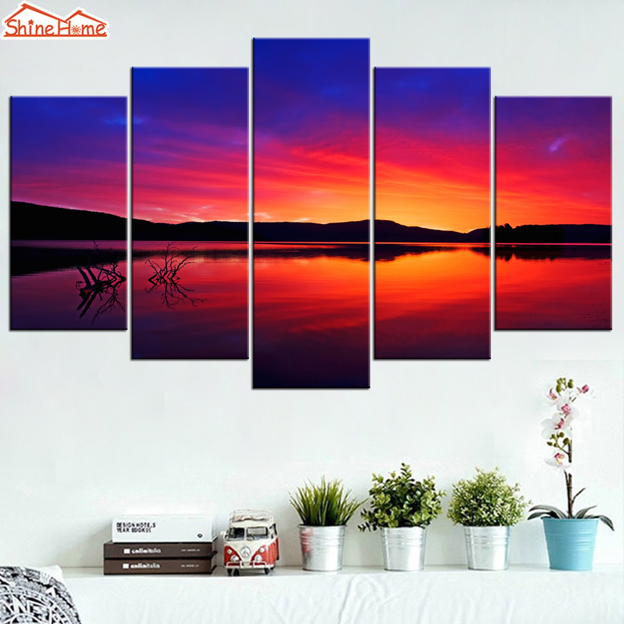 ShineHome 5 Piece Canvas Picture Prints Printing Wall