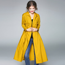 Top quality women autumn trench 2017 new brand runway fashion solid single breasted wide-waist cotton x-long trench coats