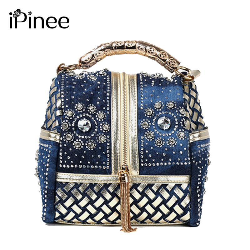 iPinee Designer Woven Women Handbag Famous Brand Rhinestone Totes Bandolera Bolsas de lujo
