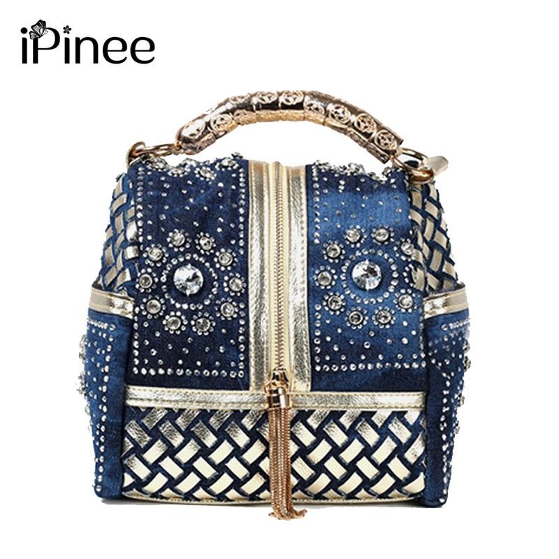 iPinee Designer Woven Women Handbag Marca famosa strass Totes Borsa a spalla Borse di lusso
