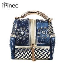 iPinee Designer Woven Women Handbag Famous Brand Rhinestone Totes Shoulder bag