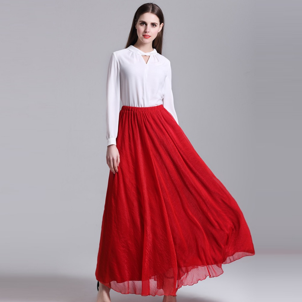 Fashion Summer Bohemian Beach Skirts Women Chiffon Long Skirts Girls Pleated Maxi tulle Skirts ...