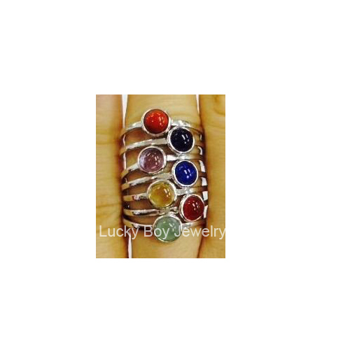 Top Quality Solid 925 Sterling Silver Stack Ring 2015 Fashion Jewelry 7 Chakra Semi Precious Stones Ring For Women Free Shipping