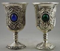 זוג משוכלל אסיפה מעוטר עתיק עבודת יד טיבטי משובץ כסף עם חרוזים מלאכותיים פרח כוסות