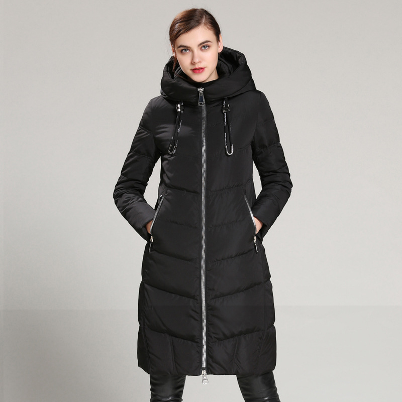 European and American female long down font b jacket b font knee winter thickening big yards