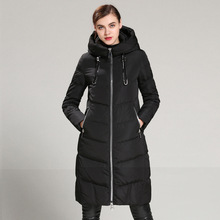 European and American female long down jacket knee winter thickening big yards Slim white duck down jacket
