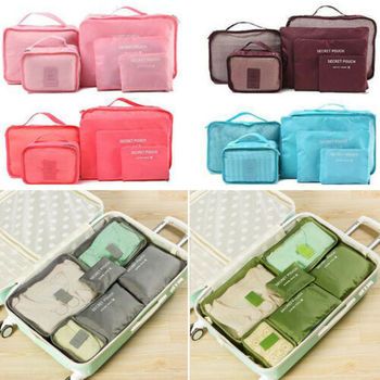 6Pcs Clothing & Wardrobe Storage Travel Clothes Storage Waterproof Bags Luggage Organizer Pouch Packing Cube