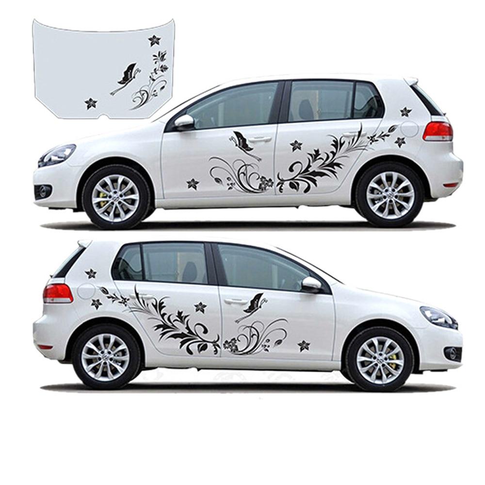 Modifield 1 Par Carro Decalque Adesivos de Vinil à prova d' água Natural Da Videira Da Flor Da Libélula para o Carro Todo Corpo