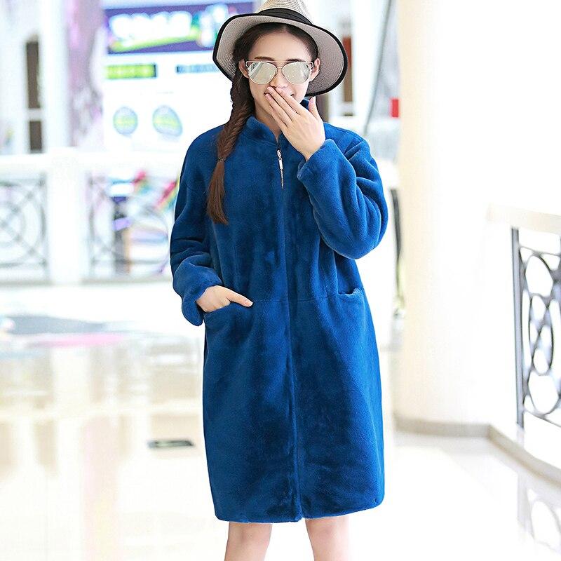 Stand Sintética Collar gris 2018 Imitación Invierno verde Abrigo Piel negro  Mujer Green Suelta Azul Pieles light E060 Larga Abrigos ... 32f9b13f02a5