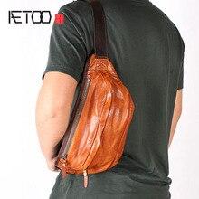 AETOO Mens chest bag handmade leather mens Messenger shoulder retro soft suede casua
