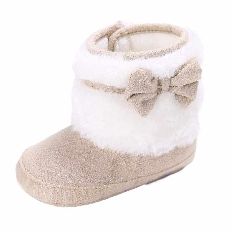 Новорожденных бабочка-узел Утепленная одежда мягкая подошва Снегоступы для малыша обувь для девочек Сапоги и ботинки для девочек детские зимние Сапоги и ботинки для девочек Botas Nieve Mujer 2017 #211