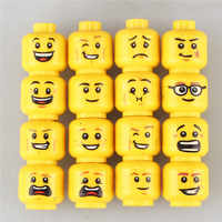 16 PCS/Lot Funny Model Bricks Toys For Children Figure Face Head Female Accessories Buidling Blocks Set